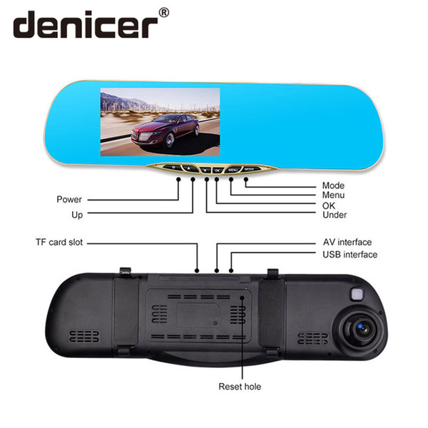 Denicer Dash Camera 5.0 '' Specchio Cvr per auto Doppia lente Telecamera posteriore Videoregistratore Dvr Registratore automatico Video Full HD 1080P Anteriore Posteriore