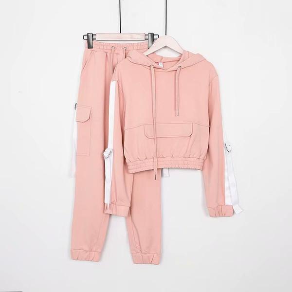 2019 весна новая мода лента хлопок с капюшоном вязать сплошной цвет был тонкий случайные свободные свитера с эластичной талией брюки костюм женщины