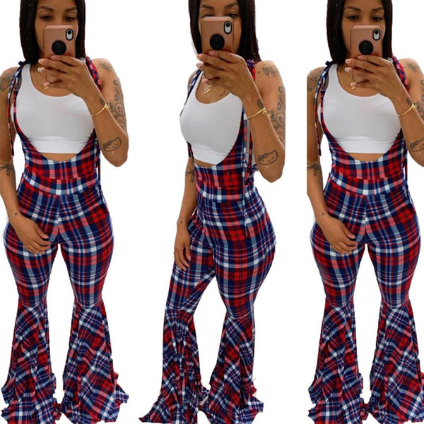 plaid lady flare bottom jumpsuits pants lace up straps neck sleeveless backless full length casual overall rompers autumn, Black;white