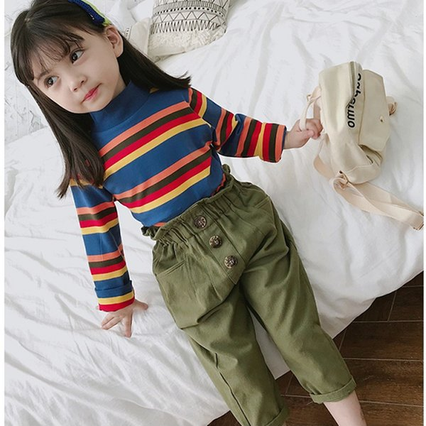 WLG girls spring autumn clothing set kids colorful striped t shirt and army green pant set baby casual clothes 2-6 years