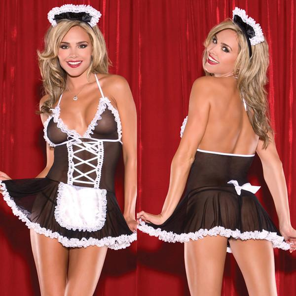 Lingerie sexy pour femmes Magnifique dentelle blanche noire et maille licol v-cou babydoll sous-vêtements correspondant jupe jupe taille libre Sleepwears
