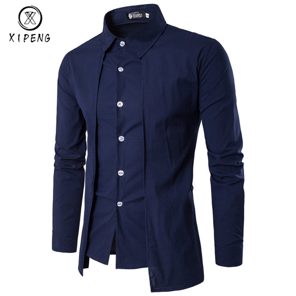 New Spring Autumn Men Shirt 2019 Unique Design Fake two pieces Stylish Mens Dress Shirt Long Sleeve Casual Slim Fit Male Shirts