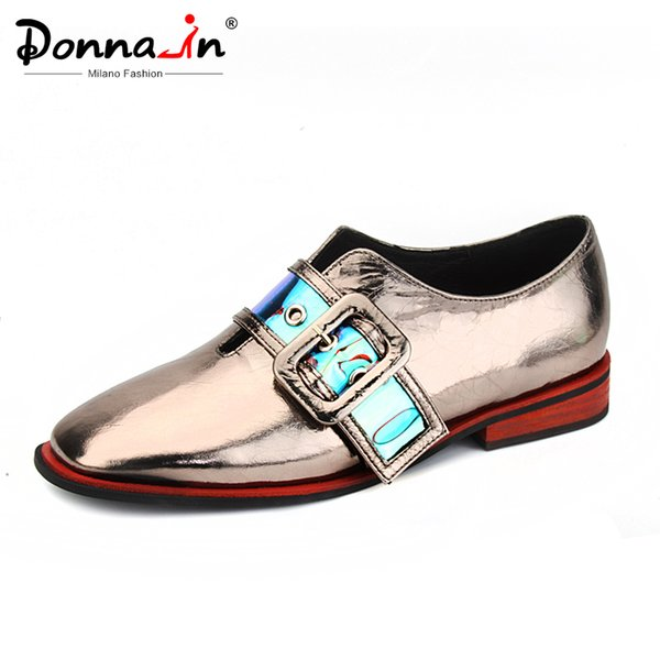 donna-in buckle metal decoration bling slip-on flats shoes women square toe leather comfortable female footwear spring 2020