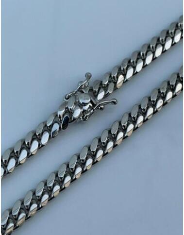 Miami Küba Link Zinciri Gerçek Katı 925 Gümüş Dolu Ağır 6mm 24