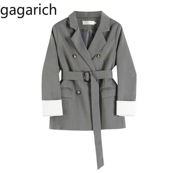 Gagarich Frauen Blazer 2019 Neue Koreanische Version Herbst 2019 Retro Zweireihige Schnalle Gürtel Taille Damen Anzug