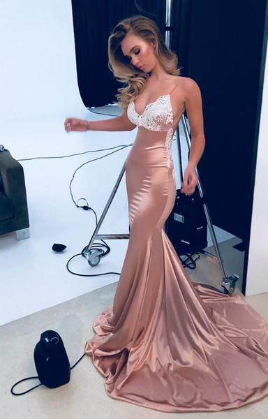 2019 Elegant Spaghetti Straps Prom Dresses Dusty Pink Elastic Silk Like Stain Mermaid Formal Evening Occasion Dresses Custom Made