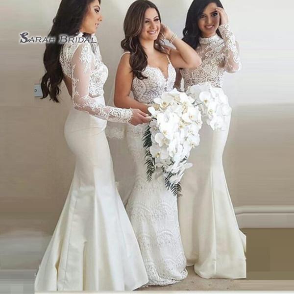 top popular 2020 Elegant Appliques Long Sleeves Floor Length Mermaid Wedding Occasion Bridesmaid Dress Wedding robes de soirée 2020