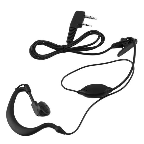 2 PIN Auricular Auricular PTT con micrófono Walkie Talkie Gancho para la oreja Interphone Auricular para BAOFENG UV5R Plus BF-888S UM 55