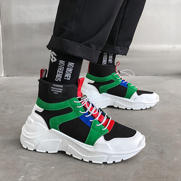 2019 New Mens Breathable Leisure Footwear Black White High Top Tide Shoes Fashion Ankle Boots for Men