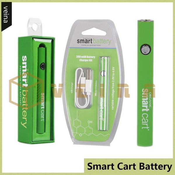 SmartCart Bateria Kit Verde Smart Carts 380 mAh Pré-aqueça VV Variável de Tensão Inferior Carregador USB Blister Box Vape Bateria Para 510 Cartuchos