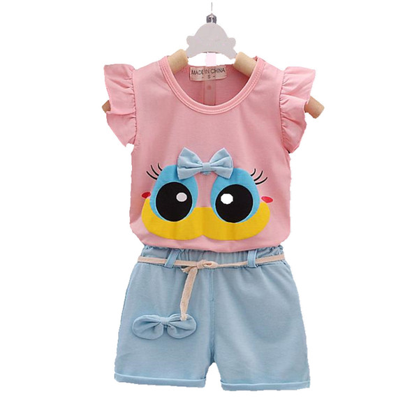 Fashion  Summer Infant Baby Girl Clothing Sport Lovely Long Eyelashes Toddler Girl Vest Pants Pure Cotton Suit Kids Clothes