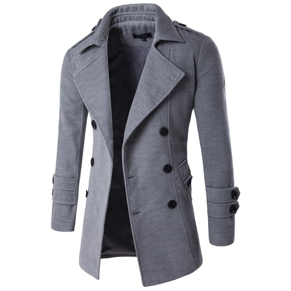 2019 Autumn Winter Jacket Men Peacoat Mens Jackets And Coats Male Brand Clothing Chaqueta Hombre Wool & Blends Men Trench M-XXL