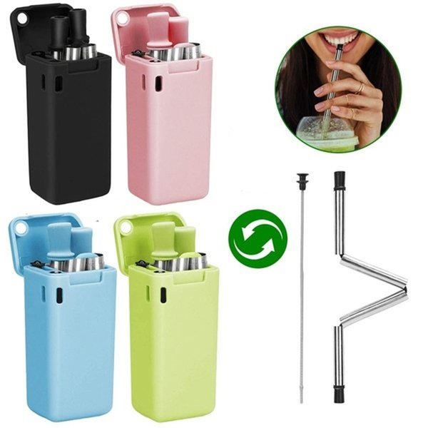 Foldable Stainless Steel Straws Reusable Food-Grade Household Bar Drinking Straws Portable Travel Set with Case and Cleaning Brush