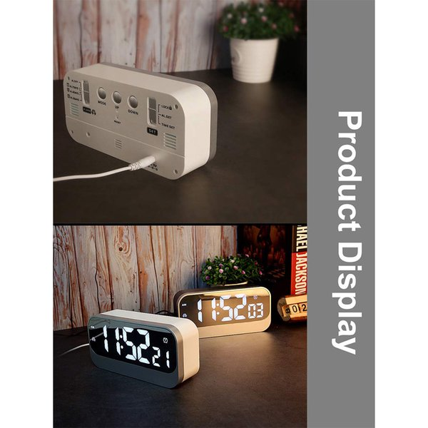 Yatak odası Dijital Ekran Dekoratif Kolay Işletmek Led Hediye Ayna Yüzey Çalar Saat Ofis ABS Ev Modern Ayarlanabilir Parlaklık