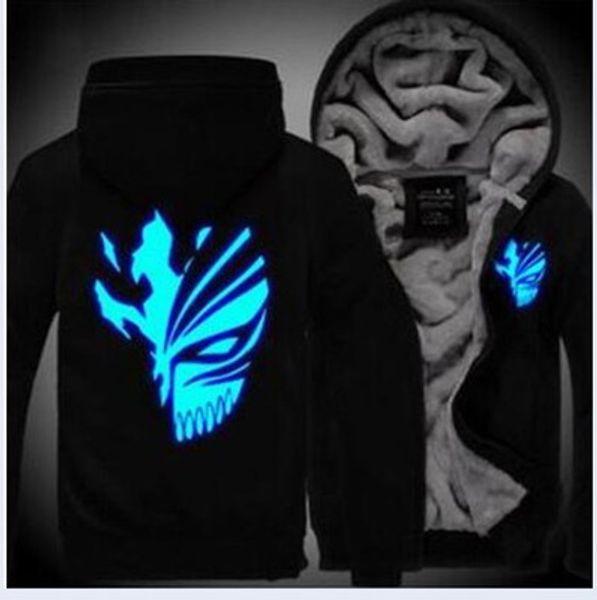 Men's Winter Hoodie Sweatshirt BLEACH Skull Print Luminous Glowing Design Thicken Fleece Warm Coats Kurosaki Ichigo Hoodie