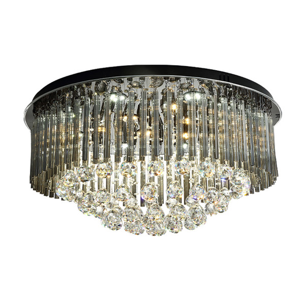 New design dimmable crystal ceiling round luxury chandelier light modern smoky gray flush mount chandeliers lighting for living room bedroom