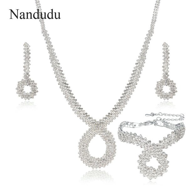 wholesale ON SALE Bridal Crystal Jewelry Sets Silver Color Rhinestone Wedding Engagement Jewelry Sets for Women CN331