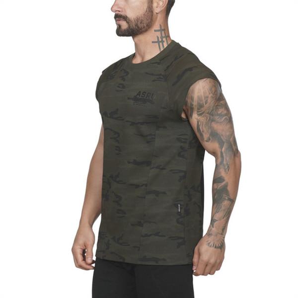 2019 New Summer Gyms Men T shirt Sport Fitness Slim Elasticity Breathable Bodybuilding Sleeveless Tight Mens Tshirt Tee Tops