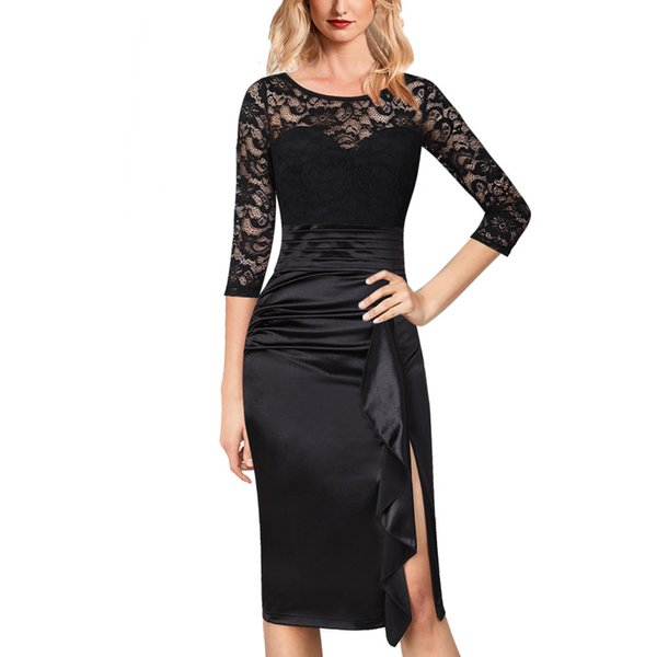Vfemage Womens Ruched Ruffles Slit Lace Formal Cocktail Wedding Party Mother of Bride Special Occasion Bodycon Pencil Dress 1575
