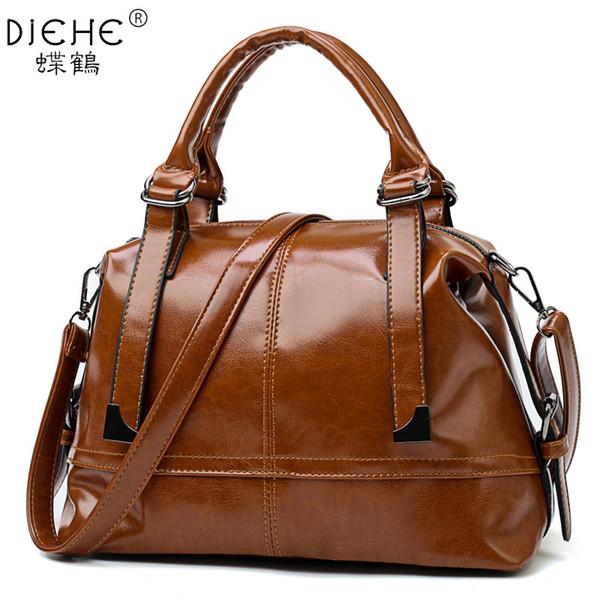 2018 New Fashion Luxury Handbag Women Large Tote Bag Female Bucket Oil Wax Shoulder Bags Lady Leather Messenger Bag Shopping