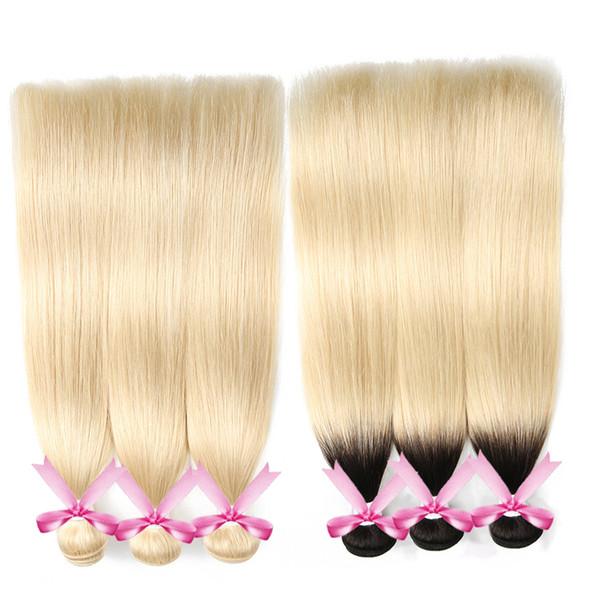 Brasilianisches Menschenhaar 1B 613 Ombre Silky Straight Bundles mit Spitzenverschluss 613 Blonde Virgin Hair Body Wave Bundles mit frontalen Haarwebarten