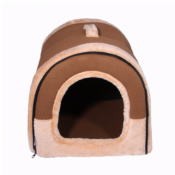 Pet House Brown Dog Bed Pet Cats Sofa Soft Cushion Washable Comfortable Sleeping Kennel For Small Medium Sized Supplies