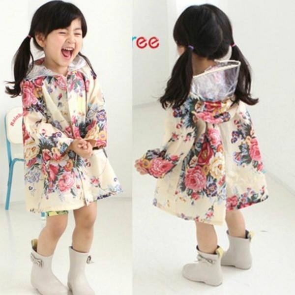 Kız Çocuk Coat Güzel Çiçekler Yağmur Bant ceket giyin Bebek Panço Bebek Su geçirmez Panço Yağmurluk Çocuk Wear