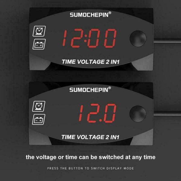 Mini Digital Voltmeter Ammeter 12V 3 in 1 Digital LED Display Clock Thermometer Indicator Gauge Panel Meter For Car Motorcycle