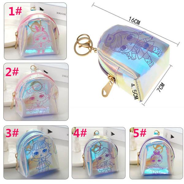5styles boneca dos desenhos animados do laser coin bag keyholder curto mini carteira de fone de ouvido mudar o dinheiro saco Shell forma partido favor crianças presente bolsa dc497