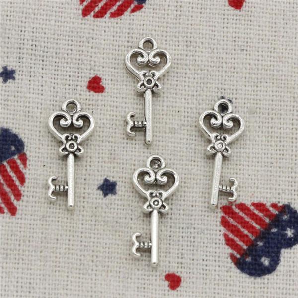313 unids encantos vintage esqueleto clave 21 mm colgante, colgante de plata tibetana, para DIY collar pulseras joyas accesorios