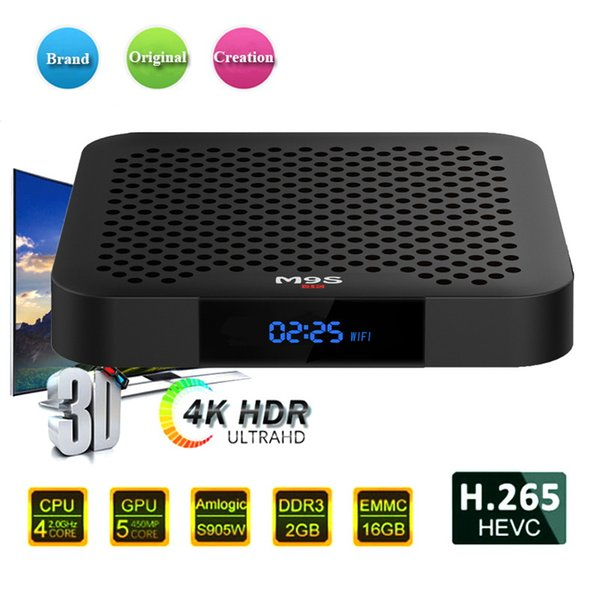 Hot M9S W2 Android 7.1 TV BOX 2GB 16GB Amlogic S905W Quad Core Suppot H.265 4K 30tps 2.4GHz WiFi Media Player 4k IPTV h265 Set top