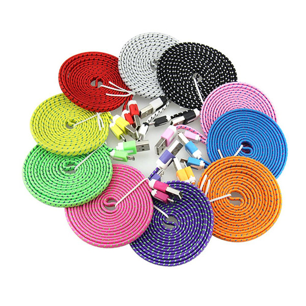 10ft 6ft 3ft noodle flat braid charging cord ync fabric type c micro wire u b data cable line am ung 8 7 huawei