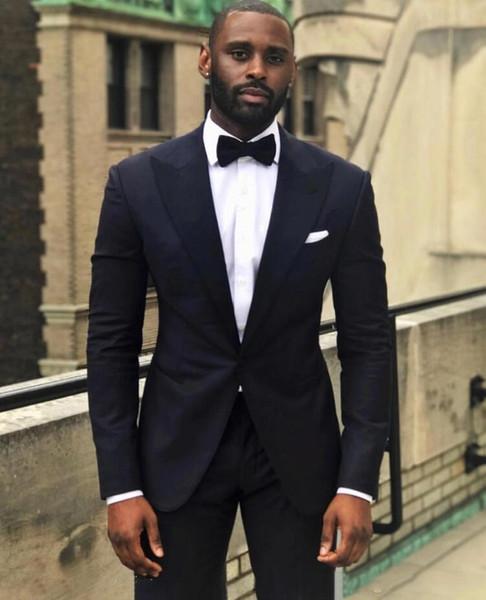 Handsome Black Slim Fit Men Wedding Tuxdos Peak Lapel Groom Tuxedos Excellent Men Jacket Blazer 2 Piece Suit(Jacket+Pants+Tie) 2778