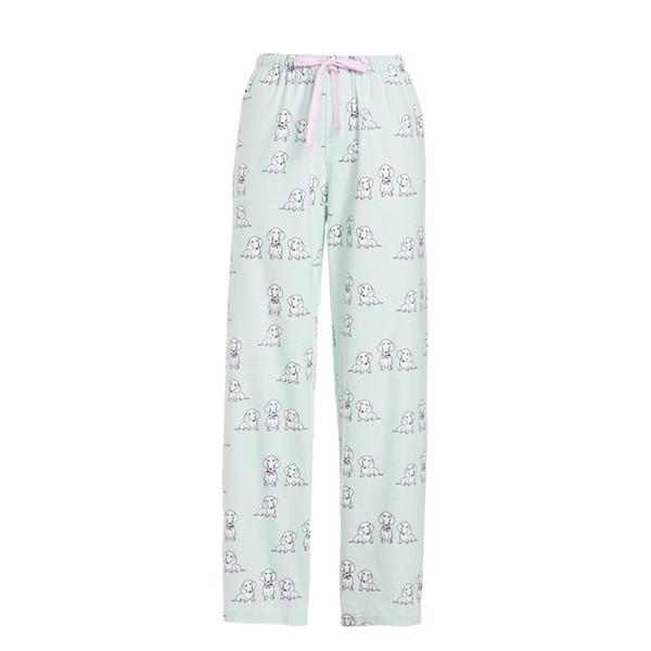 2019 Spring Cotton Flannel Pajama Pants Women Corgi Pug Printed Sleep Bottoms Lounge Wear Loose Home Pajama Pants For Women