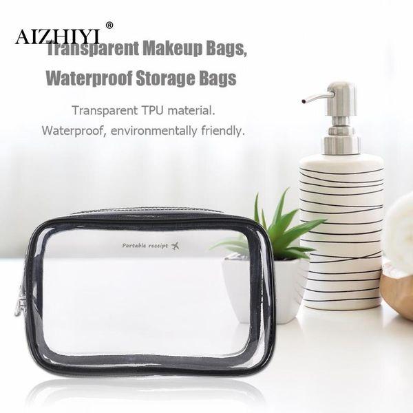 Women Transparent TPU Makeup Bags Waterproof Travel Cosmetics Storage Pouch Wash Toiletry Case Bolsa Mujer de cosmeticos New