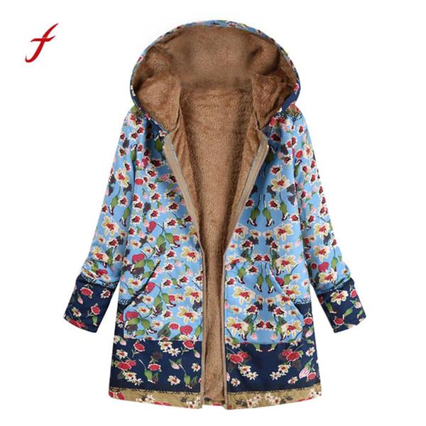 4 Mit Winterjacke Taschen Kapuze Blumendruck Fleece Von Mäntel Großhandel Plus Dicke Damen Outwear Vintage Frauen Größe Cupidcloth32 DWE29HI