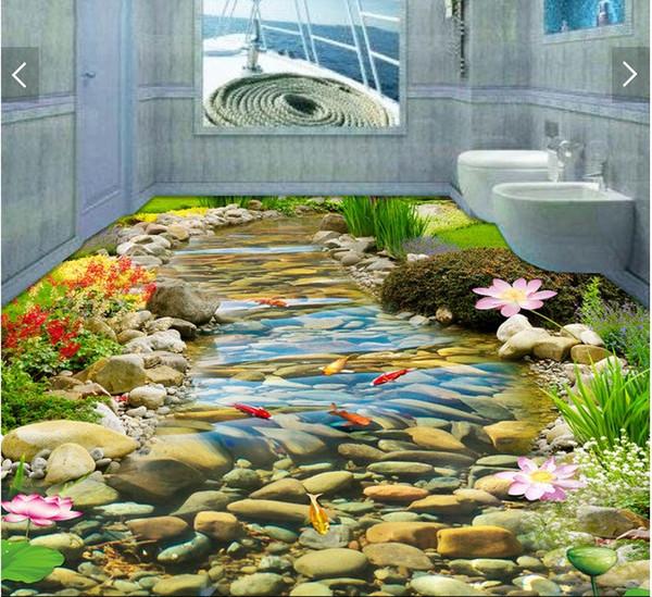 WDBH 3d pvc flooring custom photo HD Stream Goldfish Lotus Flower Self-adhesive floor wall sticker 3d wall murals wallpaper for living room