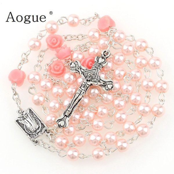 6mm Glass Imitation Pearl Bead Holy Rosaries Necklace With Rose Flower Silver Cross Lourdes Center Rosary