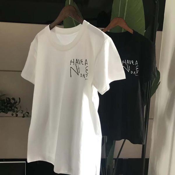 Nice Day Tshirts pour Femmes Hommes Adolescent Blanc Noir T-shirt D'été À Manches Courtes Big C TEES
