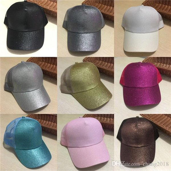 2018 New Sequins Fluorescent Baseball Caps With Foams Mesh Classic Visor Hat Fashion Girl Pony Tail Back Hole ge001