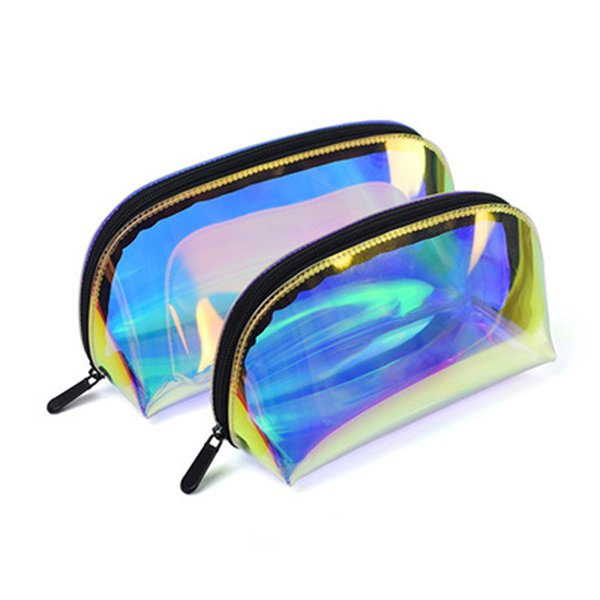 cosmetic bag woemn transparent laser travel make up necessaries organizer zipper toiletry kit makeup case pouch wash kit box