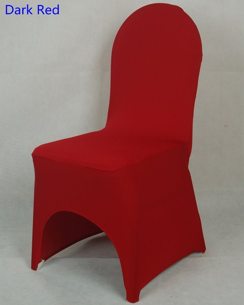 Dark red colour lycra universal chair cover for wedding decoration spandex chair cover on sale banquet chair arch front open