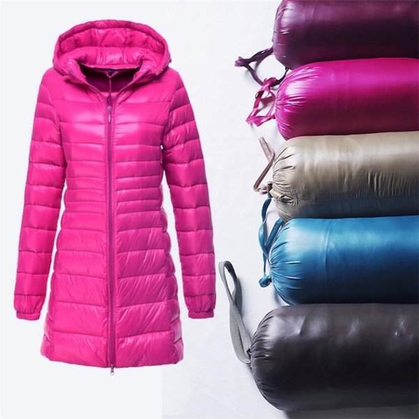 Kış Ceket Kadınlar Ceketler İçin Kadınlar Yeni 2019 Sonbahar Beyaz Downs Ceket Uzun Parka Kapşonlu Bayan Casual Slim Ultralight İnce Ceket 7XL