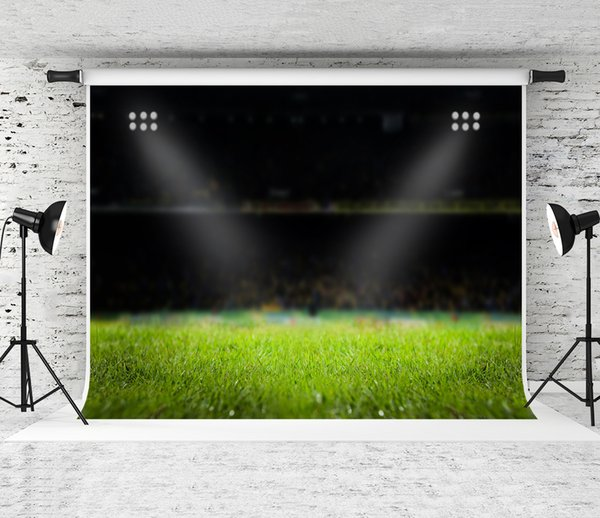 Dream 7x5ft Football Field Photography Backdrop Evening Stadium Light Background for Soccer Theme Party Decor Photo Shoot Backdrops Prop