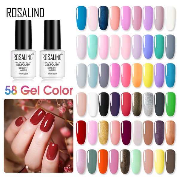 top popular ROSALIND Gel Polish Set All For Manicure Semi Permanent Vernis Top Coat UV LED Gel Varnish Soak Off Nail Art Gel 58 Colors 2021