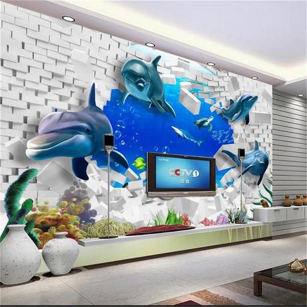 custom size 3d photo wallpaper mural kids room underwater world brick wall 3d picture sofa TV backdrop wallpaper mural non-woven sticker