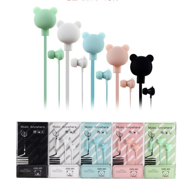 Colorful Cartoon Cute Earphone with Mic Stereo small Bear headset for for Huawei xiaomi iPhone Samsung Kid Girls Gifts gsd-001