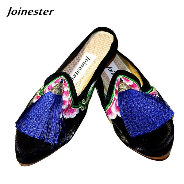 Dress Vintage Fringe Satin Women Slides Pointed Toe Floral Embroider Ladies Pumps Slippers Ethnic Woman Casual Shoe With Tassel