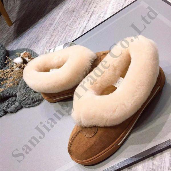 Austrália UG Botas Mulheres Botim Low Show sapatos de camurça de couro peludo Slipper couro Chunky quente botas de Inverno Loafers Slides C120303