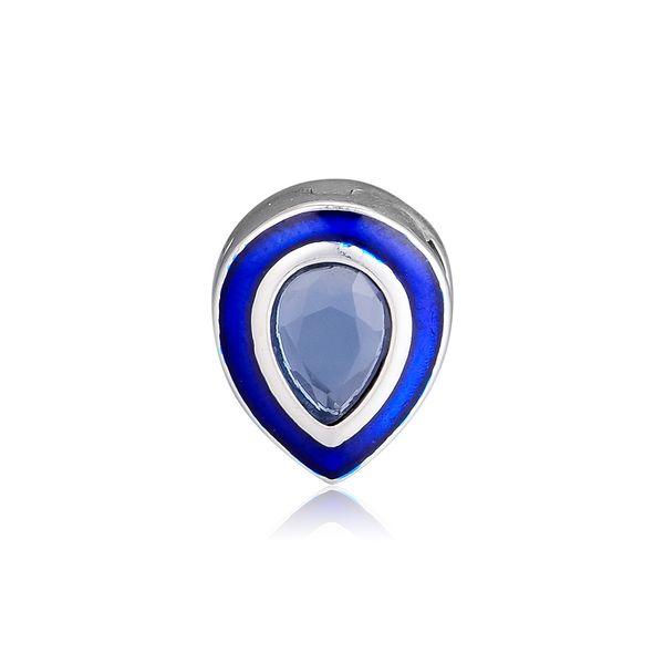 Original 925 Sterling Silver Beads Charm Reflective Dazzling Blue Droplets Clip Beads for Pandora Bracelet & Bracelet Diy Jewelry